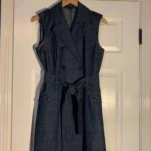 Sleeveless chambray coat dress